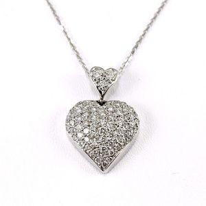 Jewelry - Pave Diamond Cluster Charm Pendant 14K WG 1.00Ct